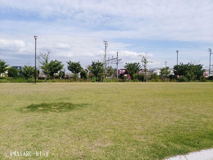 芝生がある健都レールサイド公園