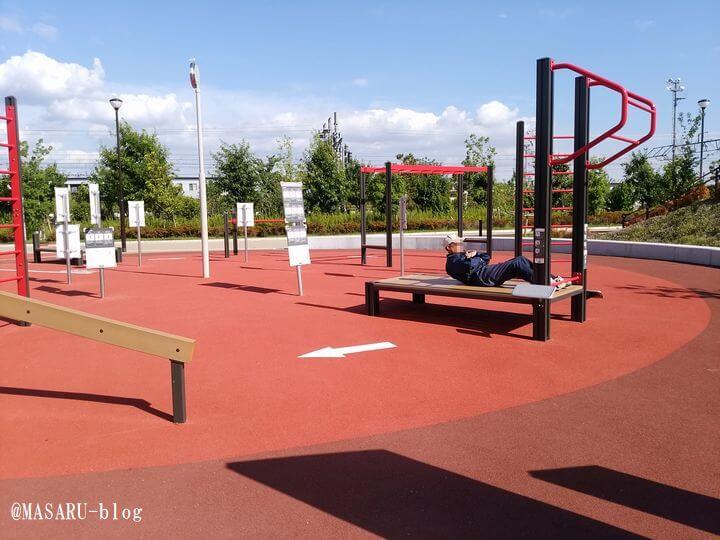 健都レールサイド公園の運動器具
