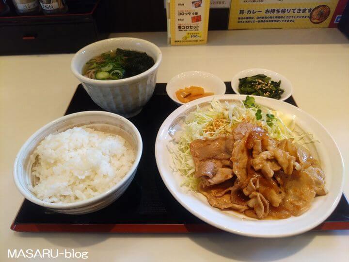 全体の生姜焼き定食の写真