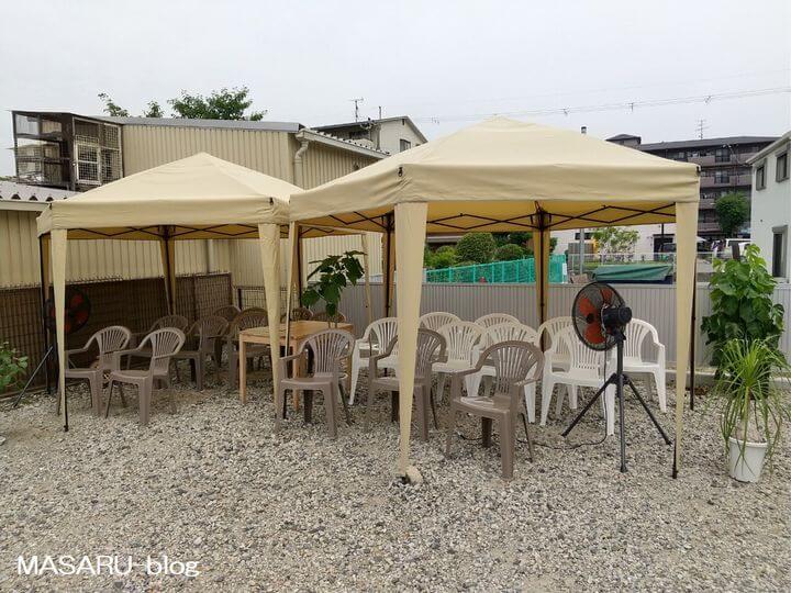 らんらん茨木のテントの待合所